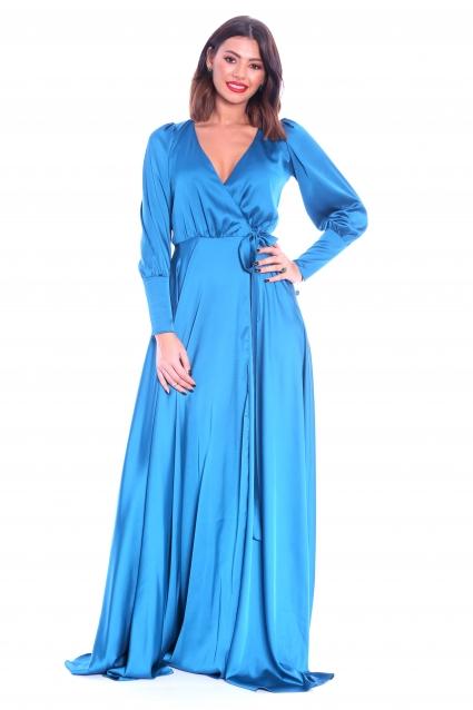 Rochie albastra Roserry lunga petrecuta din satin