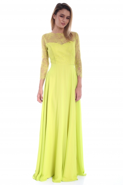 Rochie lime Roserry lunga din dantela si voal