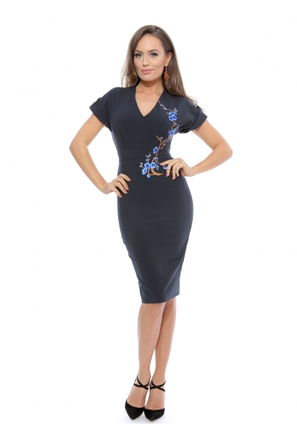Rochie bleumarin Roserry midi din stofa eleganta