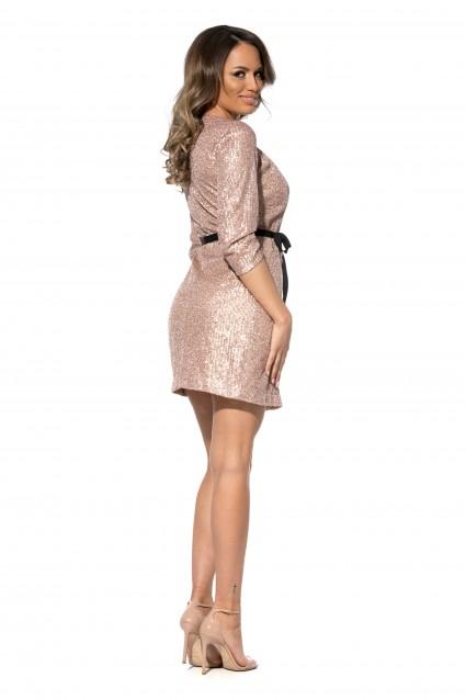 Rochie roz Roserry petrecuta din paiete cu cordon