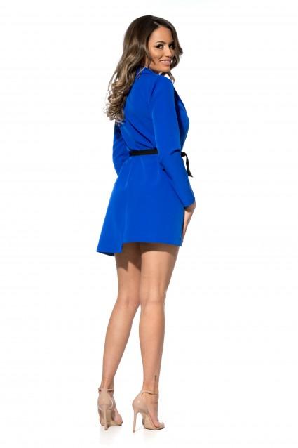 Rochie Albastra Roserry stil sacou din stofa cu cordon
