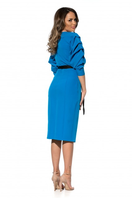 Rochie albastru deschis Roserry petrecuta din stofa cu maneca incretita