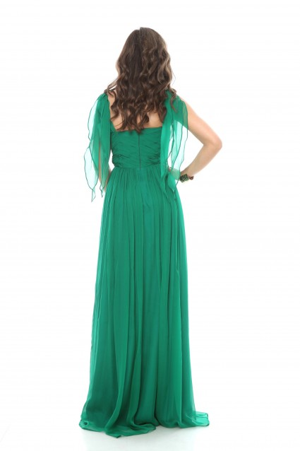Rochie verde Roserry lunga din matase naturala cu bust corset