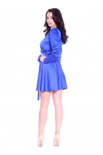 Rochie albastra Roserry scurta petrecuta din satin