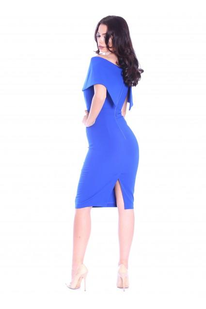Rochie albastra Roserry midi cu corset si umeri cazuti